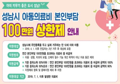 성남시 아동의료비 본인부담 100만원 상한제 안내